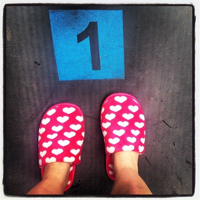 These numbers are printed on the trampoline at my cousin's house, where we are house-sitting in Melbourne (going home to Canberra tomorrow). Wearing my pink fluffy slippers that my daughter got me for Christmas, keeping my toes toasty!